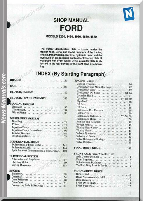 Ford 3230 3430 3930 4630 4830 Shop Manual