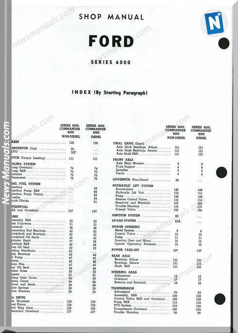 Ford 6000 Commander Shop Manual