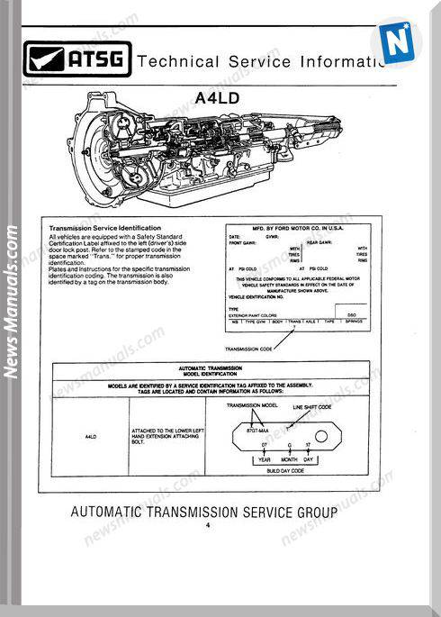 Ford A4Ld Automatic Transmition Service Manuals