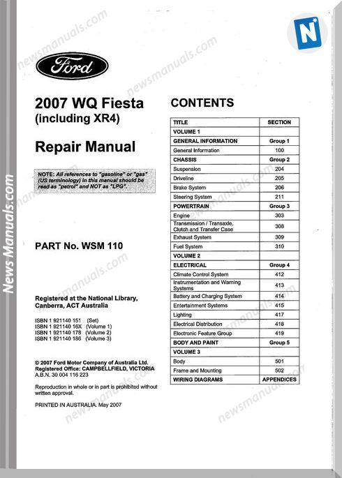 Ford Fiesta Wq 2007 Repair Workshop Manuals