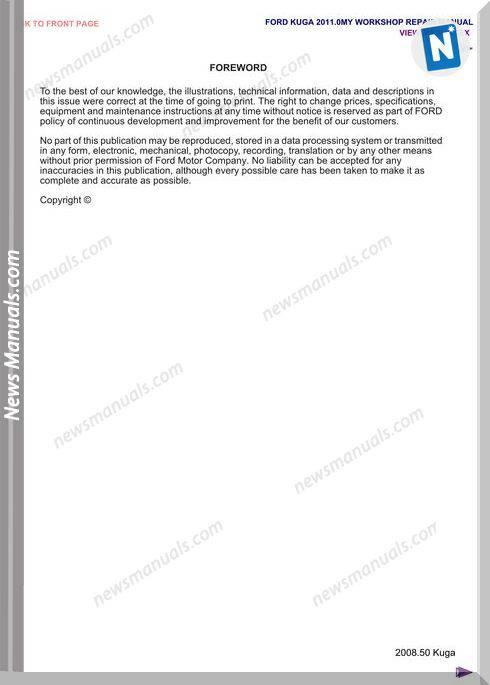 Ford Kuga 2011 Mk1 Workshop Manual