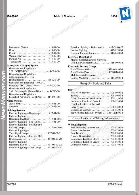 Ford Transit V184 2004 Ewd Wiring Diagram Manual