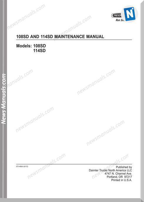 Freightliner 108Sd And 114Sd Maintenance Manual