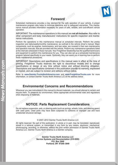 2012 freightliner cascadia repair manual