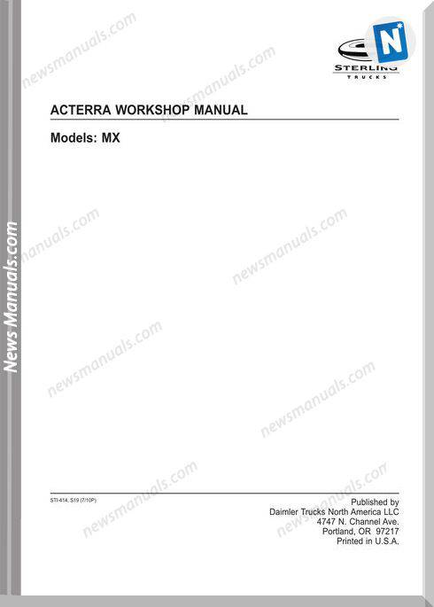 Freightliner Sterling Acterra Workshop Manual