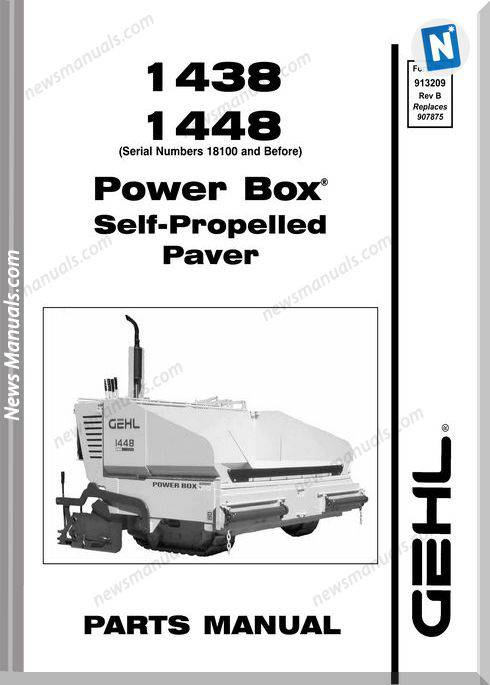 Gehl 1438 1448 Asphalt Paver Parts Manual 913209B