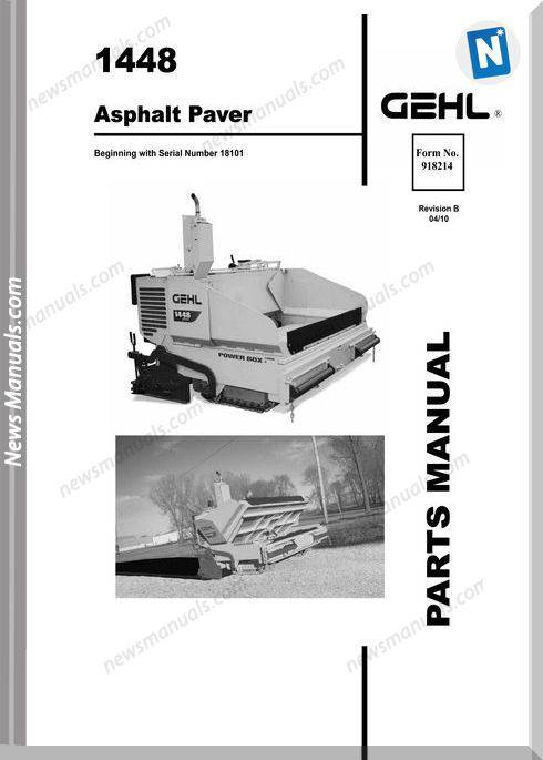 Gehl 1448 Plus Asphalt Paver Parts Manual 918214B
