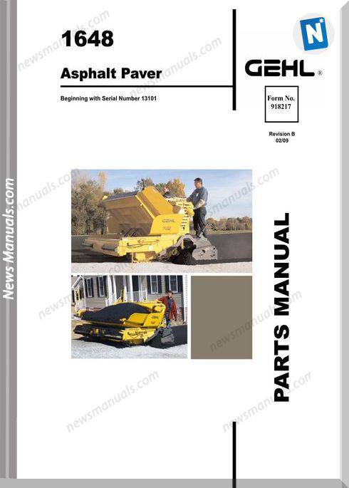Gehl 1648 Plus Asphalt Paver Parts Manual 918217B