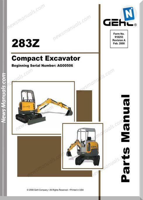 Gehl 283Z Compact Excavator Parts Manual 918253