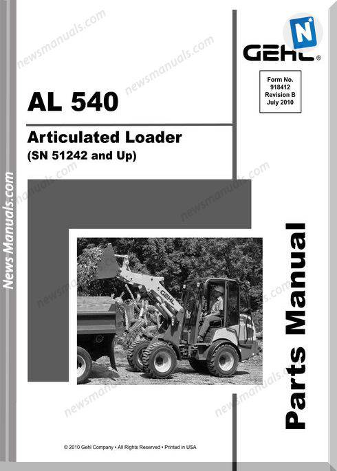 Gehl 540 Articulated Loader Parts Manual 918412B