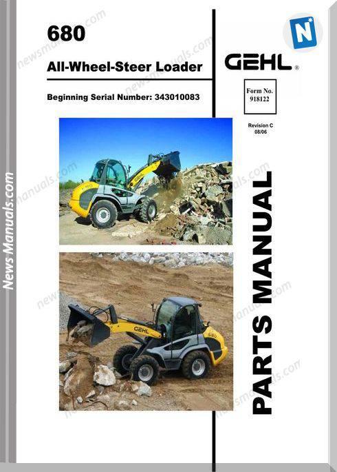 Gehl 680 All Wheel Steer Loader Parts Manual 918122c
