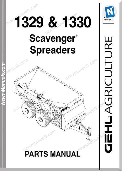 Gehl Agri 1329 1330 Scavenger Spreaders Parts 907523