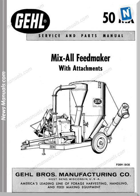 Gehl Agri 50Mx Mix All Feedmaker Parts Manual 903505