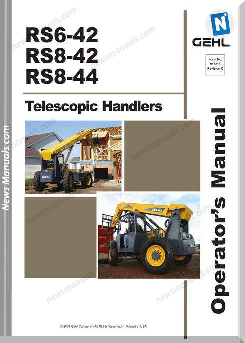 Gehl Rs6 42 8 42 8 44 1St Series Operator Manual