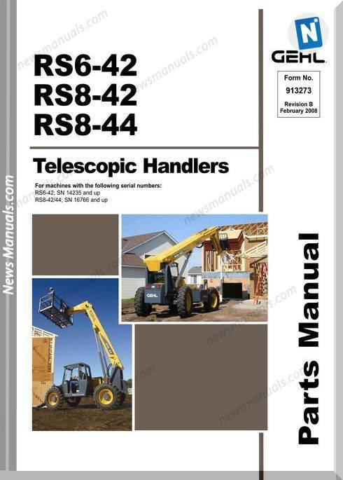 Gehl Rs6 42 Rs8 42 Rs8 44 Telescopic Handler Parts Manual 913273B