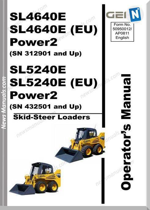 Gehl Skid Loader 46 5240 Models Operator Manual