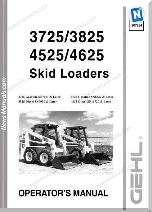 Gehl Telescopic Handlers 37 38 45 4625 Operator Manual