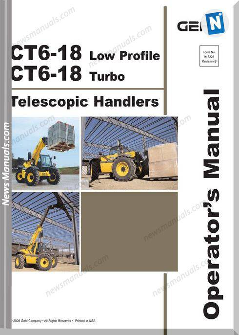 Gehl Telescopic Handlers Ct6 18 Operator Manual