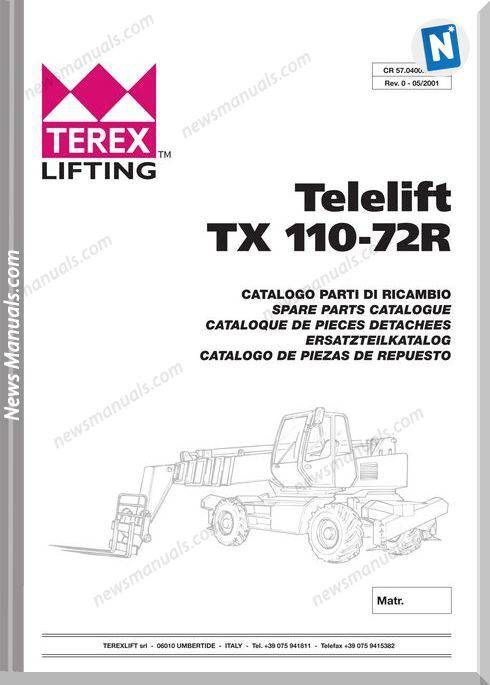 Genie Model Telelift Tx 110-72R Models Parts Manual