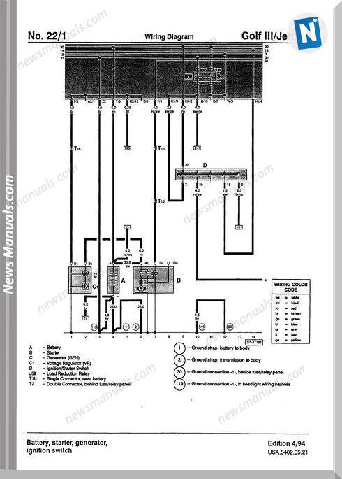 Golf Jetta Volkswagen Wiring Diagram