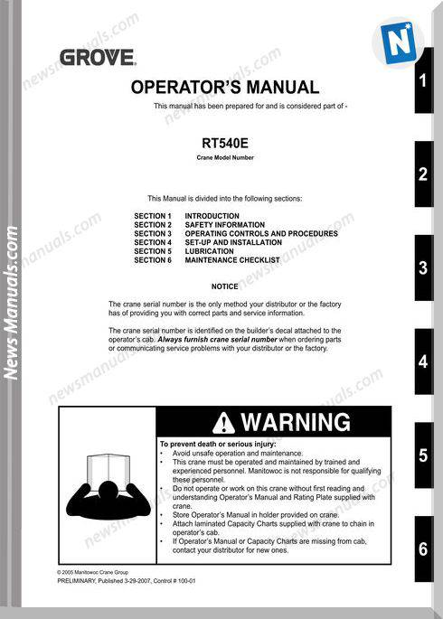 Grove Crane Rt540E Om Ctrl100-01 Operator Manual