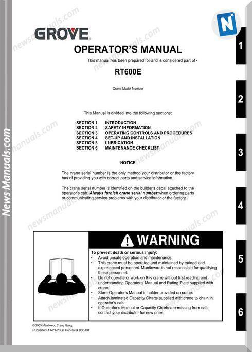 Grove Crane Rt600E Om Ctrl088-00 Operator Manual