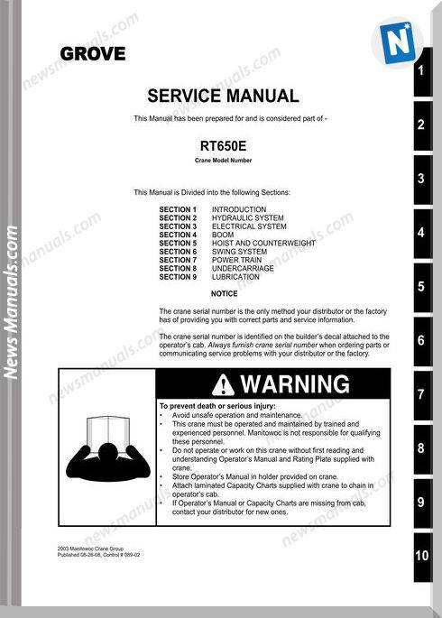 Grove Crane Rt650E Service Manual