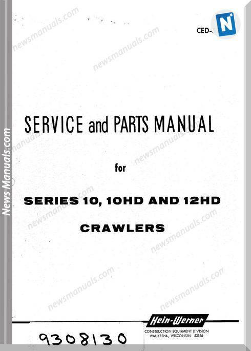 Hein Warner 10 10Hd 12H Spm 9308130 Parts Manuals