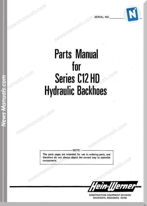 Hein Warner C12Hd Pm 9308132 Parts Manuals