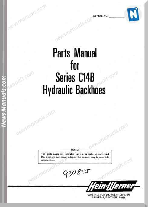 Hein Warner C14B Pm 9308135 Parts Manuals