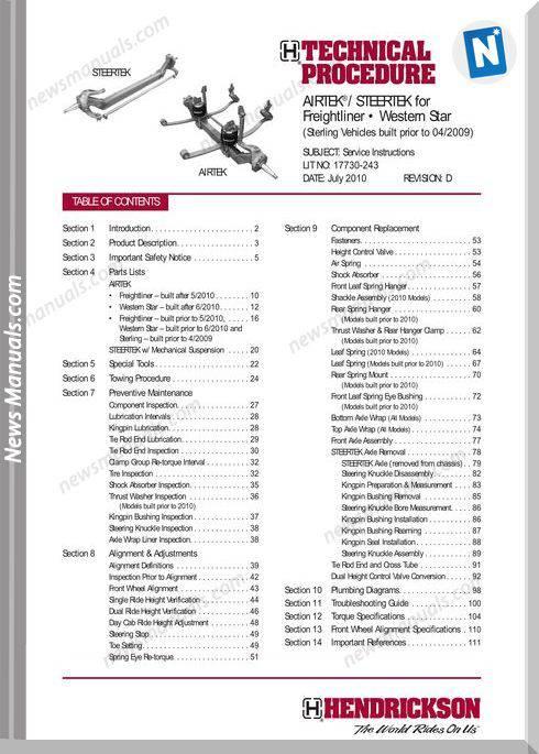Hendrickson Western Star Tp243D Teachnical Manual