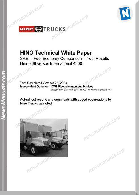 Hino Technical Manuals White Paper International