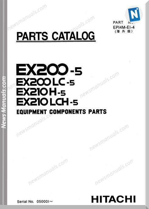Hitachi Ex200-5 Ex210-5 2 Set Parts Catalog