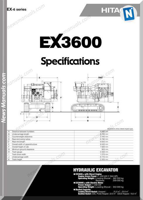 Hitachi Ex3600 Hydraulic Excavator Specifications
