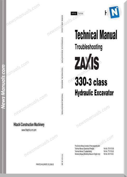 Hitachi Excavator Zaxis Zx330-3 Technical Manual