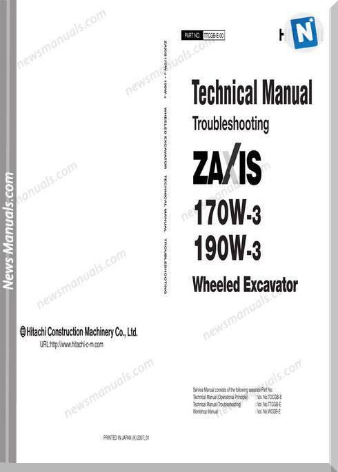 Hitachi Excavator Zx 170W,190W-3 Technical Manual