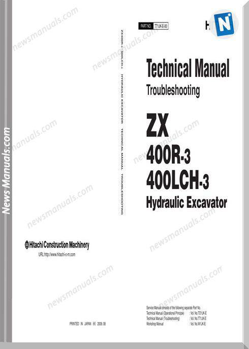 Hitachi Excavator Zx400R,400Lch-3 Technical Manual