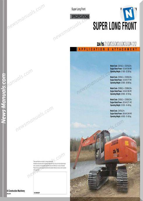 Hitachi Super Long Zaxis210,250,280,350,470 User Manual