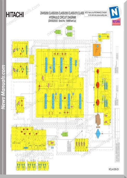 Hitachi Zaxis 200,225,230 Clas Hydraulic Wiring Diagram