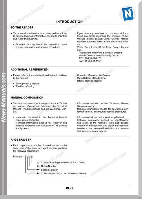 Hitachi Zaxis Xz70 Workshop Manual Motor W1Cde-00