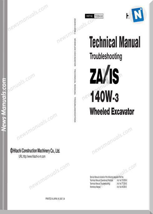 Hitachi Zx140W 3 Wheeled Excavator Technical Manual