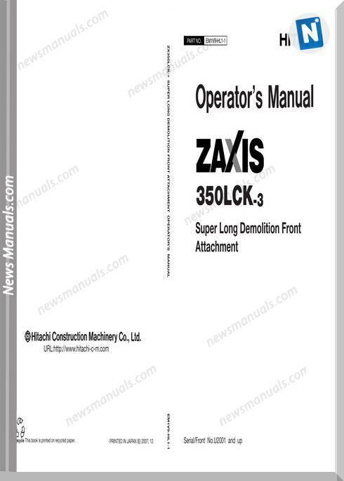 Hitachi Zx350Lck-3 Em1V9-Hl1-1 Operator Manual