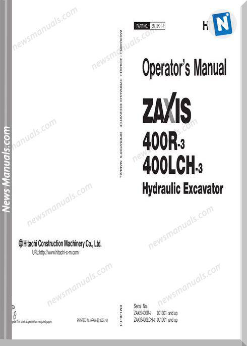 Hitachi Zx400Lch-3 Operator Manual