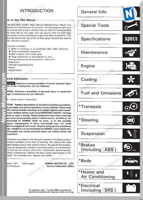 Honda Accord 1994 Shop Manual