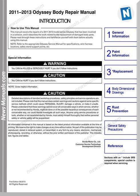 Honda Odyssey Body Repair Manual 2011 2013