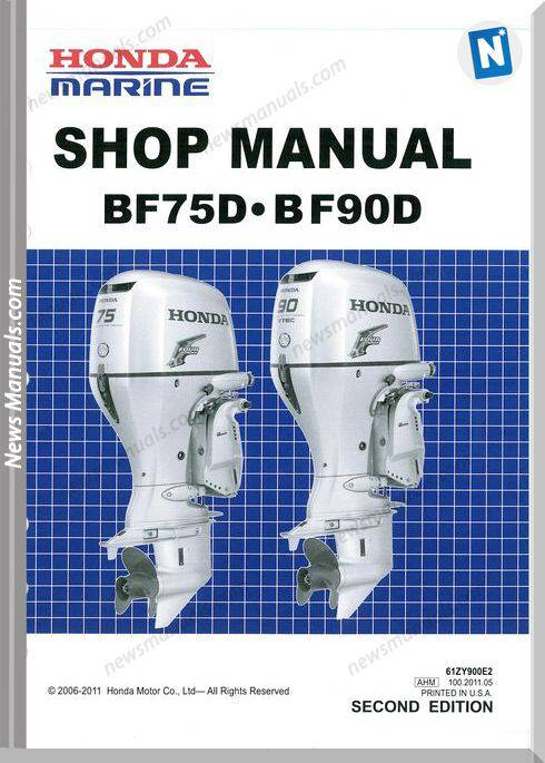 Honda Outboard Bf 75D 90D Shop Manual Dk0 Lrta Lrtu