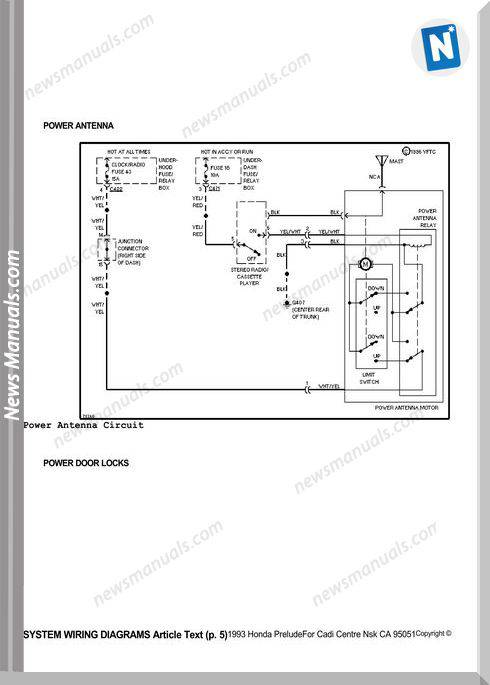 Honda Prelude 1993 System Wiring Diagrams