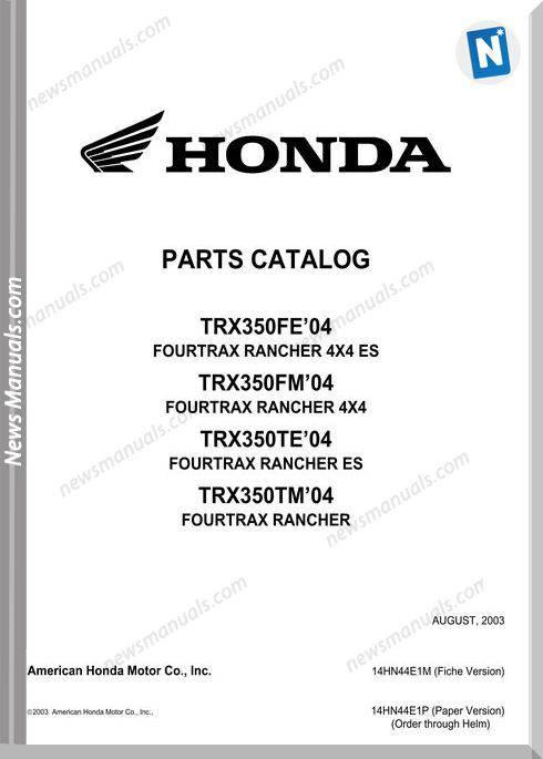 Honda Trx 350 Parts Catalog 2003