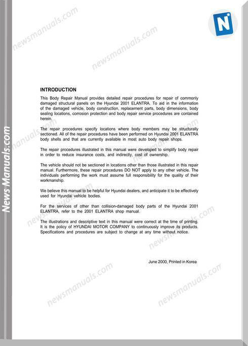 Huyndai Elantra (Xd) 2000 Year Body Repair Manual