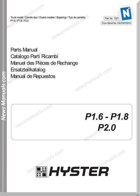 Hyster C437X01501A Models P1.6 P1.8 P2.0 Parts Manual